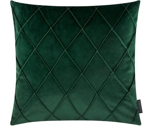 Samt-Kissenhülle Nobless mit erhabenem Rautenmuster, Grün