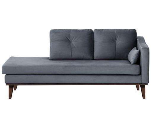 Chaise-longue in velluto Alva, schienale a destra, Rivestimento: grigio Gambe: legno di faggio, tinto scuro
