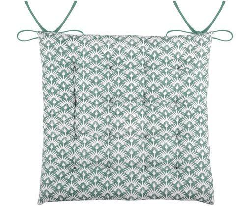 Cuscino sedia reversibile Palma, Verde smeraldo, bianco