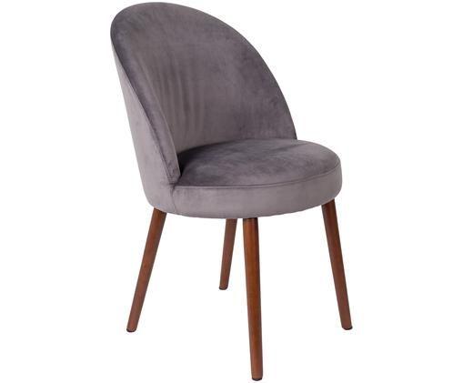 Krzesło tapicerowane z aksamitu Barbara, Tapicerka: szary Nogi: drewno orzechowe