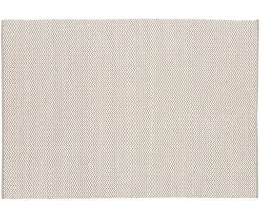 Handgewebter Wollteppich Corsa mit erhabenem Wellenmuster in Grau-Creme, Creme, Hellgrau
