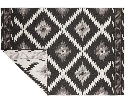 In- und Outdoor-Wendeteppich Malibu im Ethno Style, Schwarz-Weiß, Schwarz, Creme