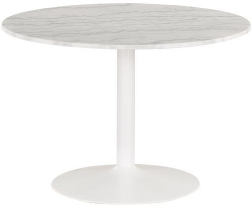 Marmeren eettafel Antigua, Tafelblad: wit, gemarmerd. Frame: mat wit