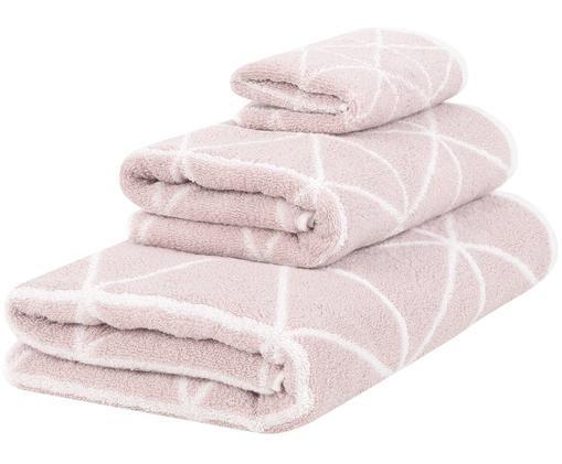Set asciugamani reversibili Elina, 3 pz., Rosa, bianco crema