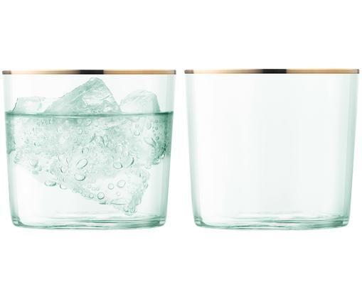 Szklanka do wody Sorbet, 2 szt., Zielony, transparentny, odcienie złotego