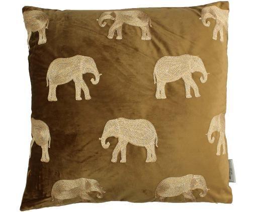 Gold besticktes Samt-Kissen Elephant in Braun, mit Inlett, Braun, Goldfarben