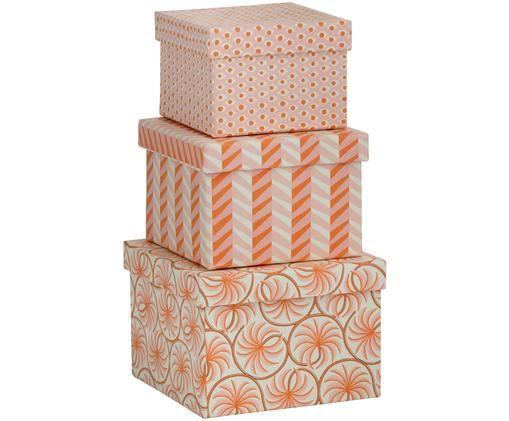 Set scatole custodia Flamingo, 3 pz., Arancione, rosa