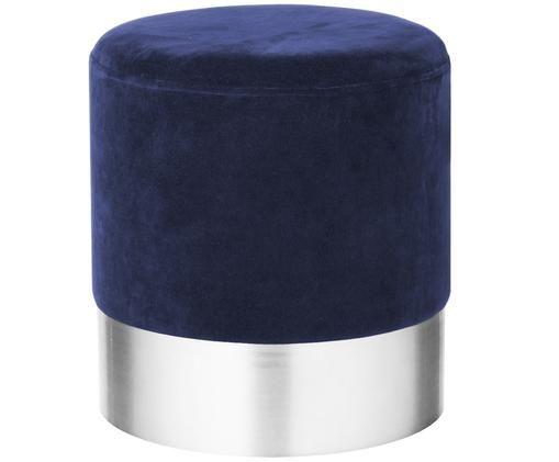 Sgabello in velluto Harlow, Blu navy, argento