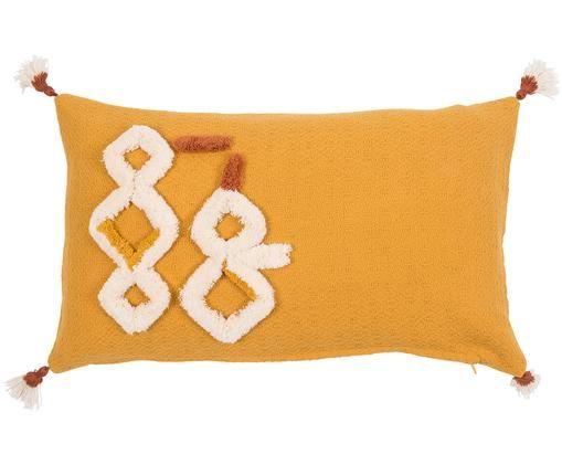 Kissenhülle Ameridana mit Quasten, Gelb, Orange Creme