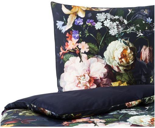 Baumwollsatin-Wendebettwäsche Fleur mit Blumenmuster, Vorderseite: Nachtblau, Weiß, GelbRückseite: Nachtblau