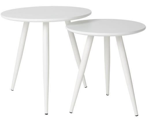 Set di due tavolini Daven in bianco, Bianco