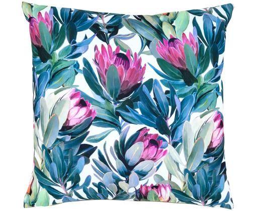 Zewnętrzna dwustronna poduszka Spring, Biały, odcienie zielonego, blady różowy