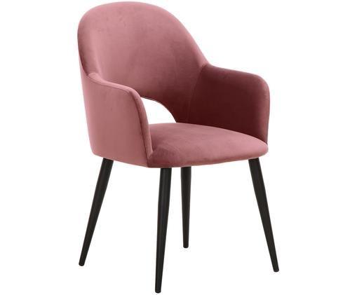 Chaise en velours à accoudoirs Rachel, Revêtement: rose-orange Pieds: noir, mat