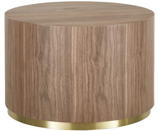 Tavolino da salotto rotondo Clarice color noce, Corpo: legno di noce impiallacciato Base: dorato lucido spazzolato