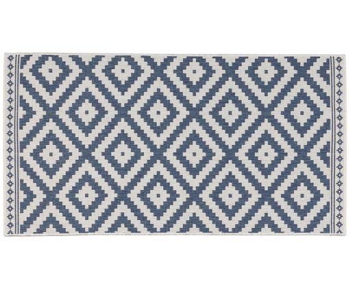 Mały, dwustronny dywan wewnętrzny/zewnętrzny Miami Beach, Niebieski, kremowy