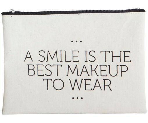 Kosmetiktasche Smile mit Reißverschluss, Weiß, Schwarz