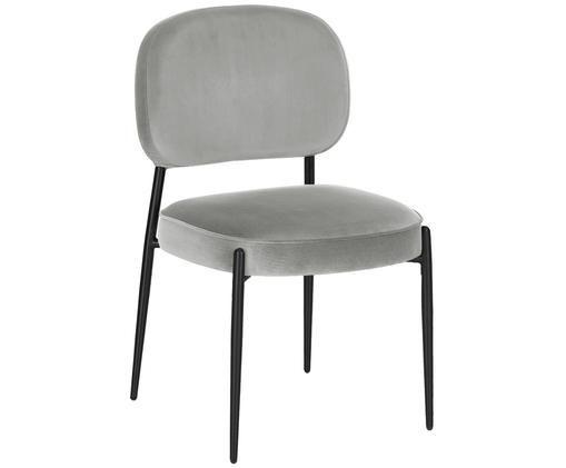 Sedia imbottita in velluto Viggo, Rivestimento: grigio chiaro Gambe e struttura: nero opaco