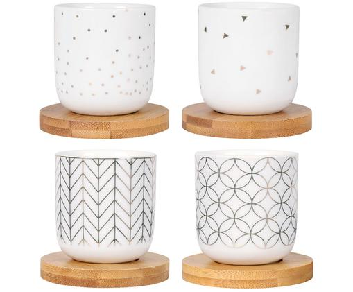 Set de tazas XS Hexa, 8pzas., Taza: blanco, dorado Posavasos: madera