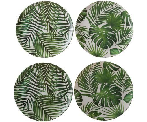 Set piatti da colazione in bambù Tropical, 4 pz., Verde, bianco