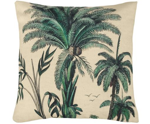 Cuscino Palm, con imbottitura, Verde, bianco