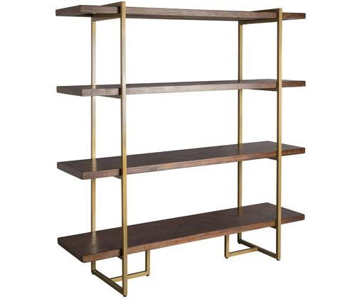 Regał Class, Półki: drewno akacjowe Stelaż: mosiądz postarzany