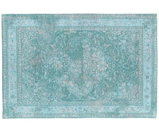 Alfombra de chenilla tejida a mano Palermo, Turquesa, azul claro, crema
