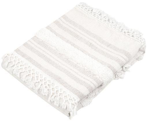 Plaid en coton Nara, Blanc crème, rose pâle
