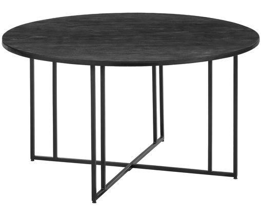 Runder Massivholz Esstisch Luca, Tischplatte: Mangoholz, schwarz lackiertGestell: Schwarz, matt