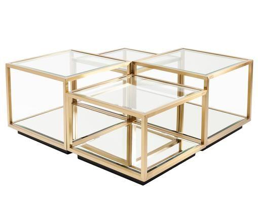 Couchtisch 4er-Set Luigi mit Spiegel-Böden, Goldfarben, Schwarz