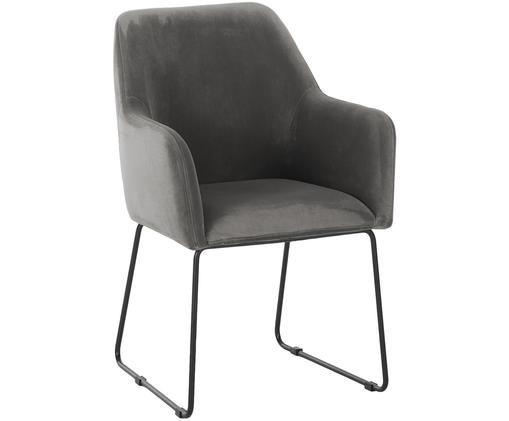 Chaise à accoudoirs en velours Isla, Revêtement: gris foncé Pieds: noir, mat