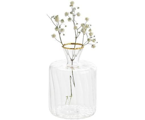 Jarrón pequeño de vidrio Plinn, Transparente, dorado