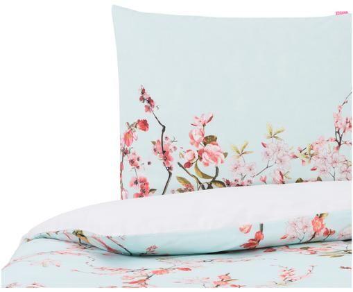 Dubbelzijdig dekbedovertrek Chinoiserie, Bovenzijde: licht mintgroen, roze, groen. Onderzijde: wit
