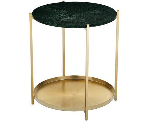 Runder Marmor-Beistelltisch Victoria, Tischplatte: Grüner Marmor Gestell: Goldfarben, matt