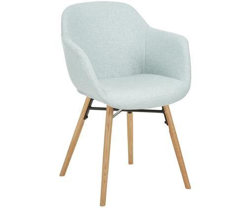 Polsterstuhl Fiji mit Holzbeinen, Sitzschale: Hellblau Beine: Eichenholz