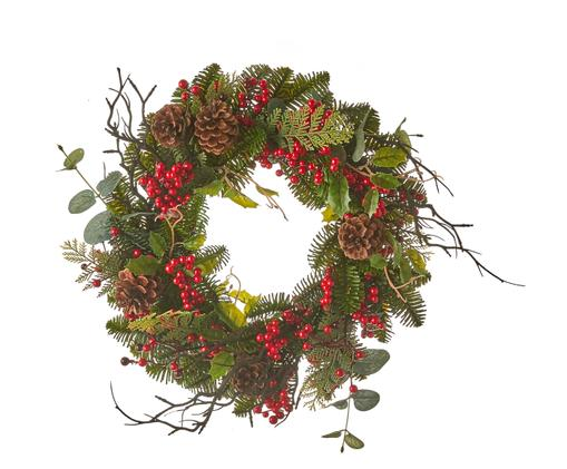 Ghirlanda natalizia con pigne Addy, Verde, rosso