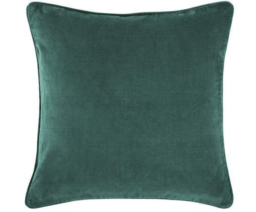 Einfarbige Samt-Kissenhülle Dana in Smaragdgrün, Smaragdgrün