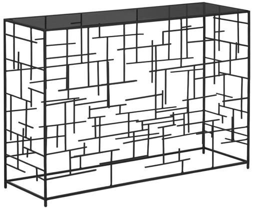 Sidetable Nola van glas en zwart metaal, Zwart