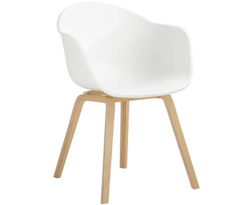 Kunststoff-Armlehnstuhl Claire mit Holzbeinen, Sitzschale: WeißBeine: Buchenholz