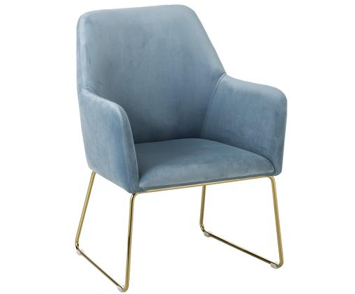 Samt-Sessel Isla in Blau, Bezug: Hellblau Füße: Goldfarben, glänzend