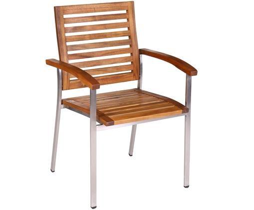 Krzesło ogrodowe  z podłokietnikami Robo, Stal szlachetna, drewno akacjowe