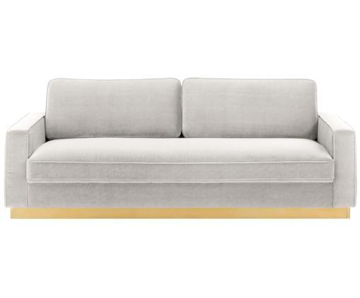 Samt-Sofa Chelsea (3-Sitzer), Hellgrau-Beige