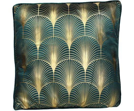 Samt-Kissen Whety mit glänzendem Art Deco Muster, mit Inlett, Petrol, Goldfarben