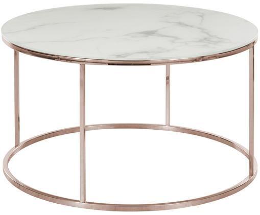 Mesa de centro Athena con tablero de vidrio, Blanco-gris veteado, rosa dorado