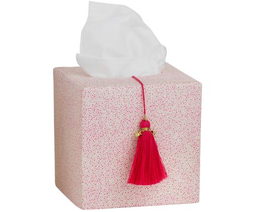 Kosmetiktuchbox Shamli mit Baumwoll-Tassel, Rosa, Weiß