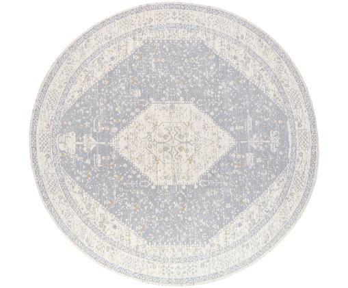 Runder Chenilleteppich Neapel im Vintage Style, handgewebt, Hellgrau, Creme, Taupe