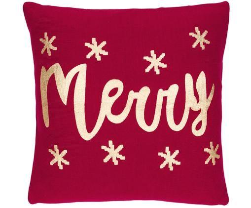 Federa natalizia con cucitura a maglia Merry, Rosso, oro