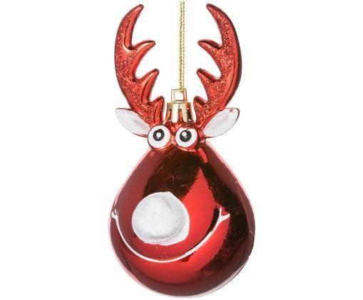 Baumanhänger Rudolph, 2 Stück, Weihnachtsrot, Weiß, goldfarben
