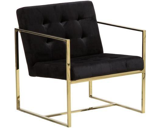 Fotel z aksamitu Manhattan, Czarny