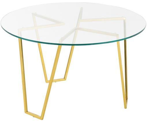 Runder Couchtisch Scarlett mit Glasplatte, Gestell: Messing, Tischplatte: Transparent