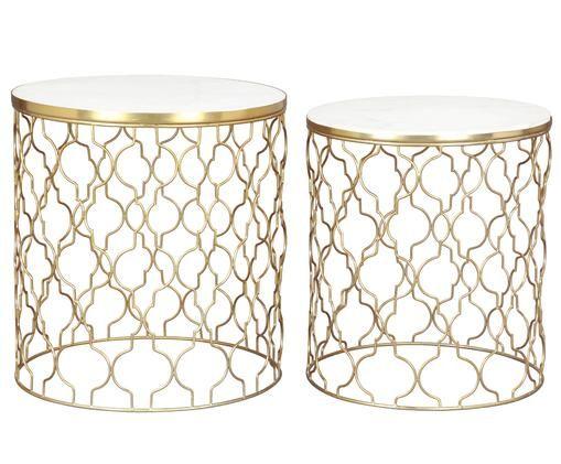 Ensemble de tables d'appoint en marbre Blake, 2élém., Plateau: marbre blanc Structure: couleur dorée